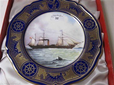 "Lot 32-CUNARD: AN 'AGE OF ROMANCE' SOUVENIR PORCELAIN PLATE BY SPODE DEPICTING ""CALEDONIA"", CIRCA 1991"