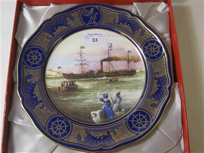 "Lot 33-CUNARD: AN 'AGE OF ROMANCE' SOUVENIR PORCELAIN PLATE BY SPODE DEPICTING ""BRITANNIA"", CIRCA 1991"