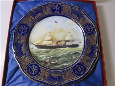 "Lot 34-CUNARD: AN 'AGE OF ROMANCE' PORCELAIN PLATE BY SPODE DEPICTING ""PERSIA"", CIRCA 1991"