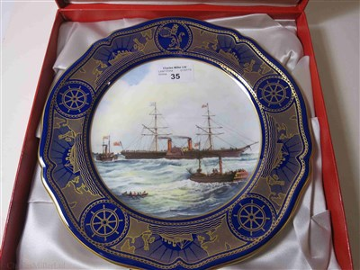 "Lot 35-CUNARD: AN 'AGE OF ROMANCE' PORCELAIN PLATE BY SPODE DEPICTING ""ARABIA"", CIRCA 1991"