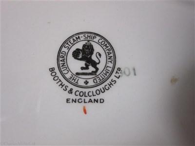Lot 36-CUNARD: AN OVAL 'AQUITANIA' PATTERN DISH BY BOOTHS & COLCLOUGHS LTD, ENGLAND, CIRCA 1936
