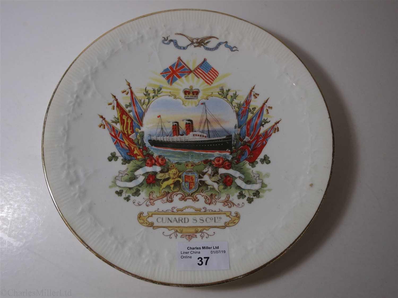 Lot 37-CUNARD: A COMMEMORATIVE DIAMOND JUBILEE CHINA PLATE BY GRIMWADE BROTHERS, CIRCA 1897