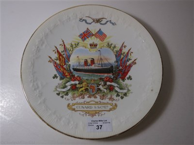 Lot 37-CUNARD: A COMMEMORATIVE DIAMOND JUBILEE CHINA PLATE BY GRIMWADE BROTHERS, CIRCA 1897