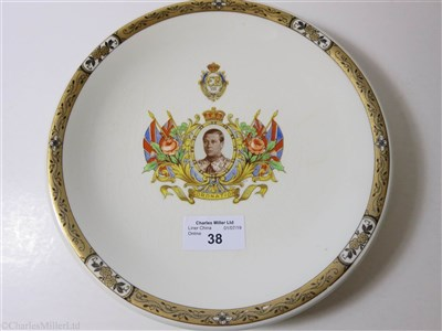 Lot 38-CUNARD:  A FIRST-CLASS SOUVENIR 'SILICON CHINA' CORONATION PLATE BY BOOTHS LTD., ENGLAND, CIRCA 1937