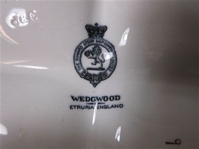 Lot 39-CUNARD: AN OVAL 'ETRURIA' PATTERN OYSTER PLATE BY WEDGWOOD, CIRCA 1910