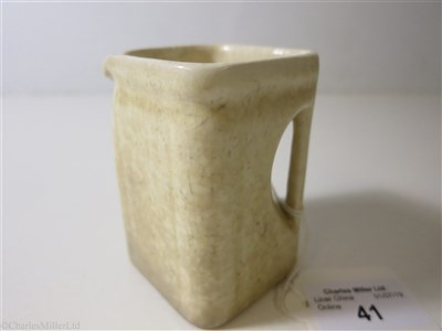 Lot 41-CUNARD WHITE STAR: A THIRD CLASS WHITE GLAZE CUBE JUG BY CLEWS & CO. LTD. TUNSTALL, CIRCA 1935