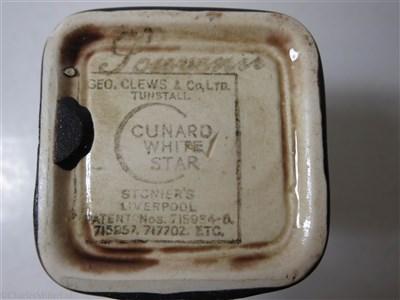 Lot 42-CUNARD WHITE STAR: A THIRD CLASS BROWN GLAZE CHINA CUBE JUG BY CLEWS & CO. LTD. TUNSTALL, CIRCA 1935
