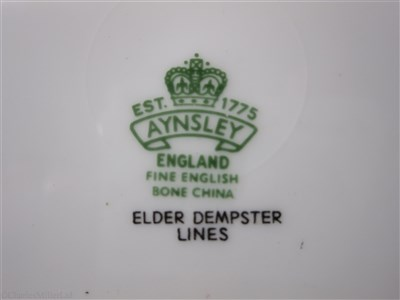 Lot 44-ELDER DEMPSTER: A BONE CHINA PLATE BY AYNSLEY, ENGLAND, CIRCA 1960