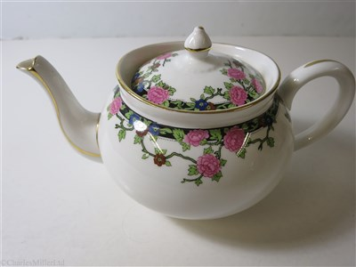 Lot 46-ELDER DEMPSTER: A FLORAL PATTERN PORCELAIN TEAPOT BY AYNSLEY, ENGLAND