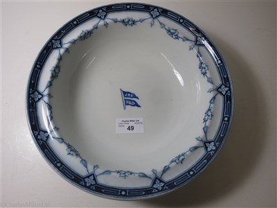 Lot 49-ELLERMAN & PAPAYANNI LINE: A 'KEY FESTOON' PATTERN CHINA SOUP PLATE BY MINTONS, CIRCA 1880
