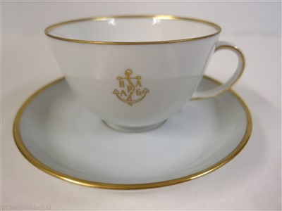 Lot 57-HAMBURG-AMERICAN (H.A.P.A.G.) LINE: A PALE BLUE PORCELAIN COFFEE CUP AND SAUCER BY FÜRSTENBERG, GERMANY, CIRCA 1950