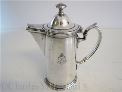 Lot 58-HAMBURG-AMERICAN (H.A.P.A.G.) LINE: A PLATED COFFEE POT BY WELLNER SOEHNE, CIRCA 1912