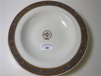 Lot 60-INTERNATIONAL MERCANTILE MARINE COMPANY: A CHINA SOUP PLATE BY BUFFALO CHINA, CIRCA 1925