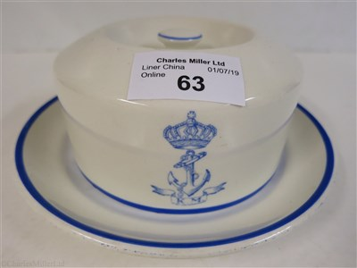 Lot 63-K.M. SHIPPING COMPANY: A BUTTER DISH AND COVER BY GEORGE JONES & SONS, CIRCA 1894