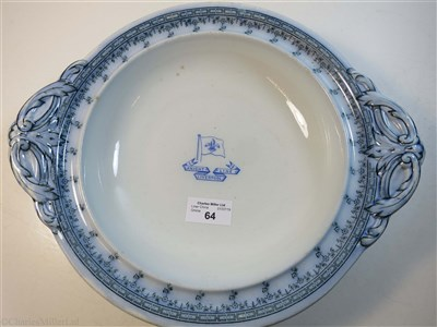 Lot 64-KNIGHT LINE: AN OVAL SERVING PLATE BY D.A.S. NESBITT & CO. LIVERPOOL, 1895