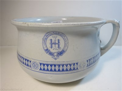 Lot 68-LIVERPOOL BRAZIL & RIVER PLATE STEAM NAVIGATION CO. LTD (LAMPORT & HOLT LINE): A 'SEINE' PATTERN CHAMBER POT BY THOMAS HUGHES & SON LTD, ENGLAND CIRCA 1895