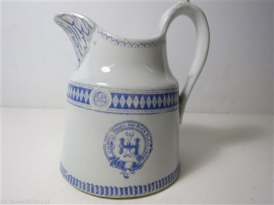 Lot 69-LIVERPOOL BRAZIL & RIVER PLATE STEAM NAVIGATION CO. LTD (LAMPORT & HOLT LINE): 'SEINE' PATTERN CHINA WATER JUG, BY THOMAS HUGHES & SON LTD. ENGLAND CIRCA 1895