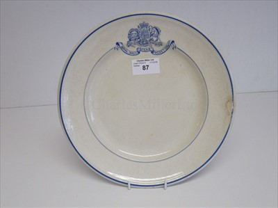 Lot 87-ROYAL MAIL STEAM PACKET COMPANY: A DINNER PLATE, BY ASHWORTH BROS. CIRCA 1860 OR EARLIER