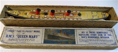 "Lot 91-CUNARD: A ""TAKE TO PIECES"" MODEL OF QUEEN MARY BY THE CHAD VALLEY CO. LTD, CIRCA 1936"
