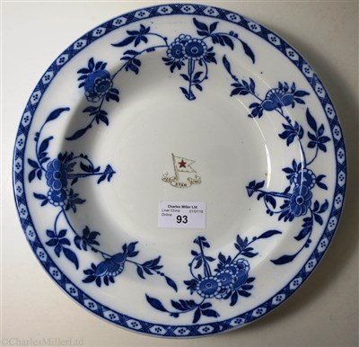 Lot 93-RED STAR LINE: A SECOND-CLASS CHINA 'BLUE DELFT' PATTERN SOUP PLATE BY MINTON, ENGLAND, 1920-1951