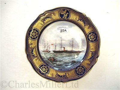 "Lot 35A-CUNARD: AN 'AGE OF ROMANCE' SOUVENIR PORCELAIN PLATE BY SPODE DEPICTING ""EUROPA"" AND ""NIAGARA"", CIRCA 1991"