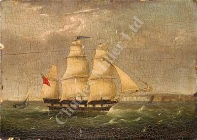 Lot 16-ENGLISH PRIMITIVE SCHOOL, CIRCA 1810  The Brig 'Mary Bidle' off Dover