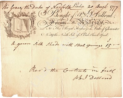 Lot 277 - A RARE AUTOGRAPHED BILL OF SALE BY JESSE RAMSDEN, 1772