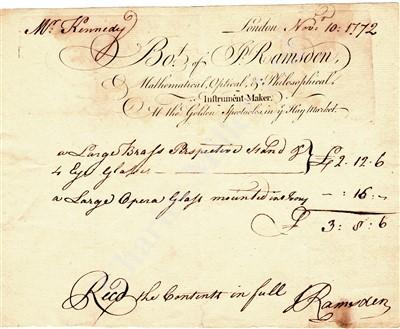 Lot 278 - A RARE AUTOGRAPHED BILL OF SALE BY JESSE RAMSDEN, 1772
