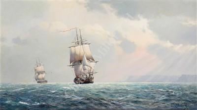 Lot 40-δ DEREK GEORGE MONTAGUE GARDNER (BRITISH, 1914-2007) 'Galatea' & 'Sylph' in company off Belle-Ile, August 1796