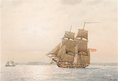 Lot 42-δ DEREK GEORGE MONTAGUE GARDNER (BRITISH, 1914-2007) Cruising off the Cornish coast, circa 1805