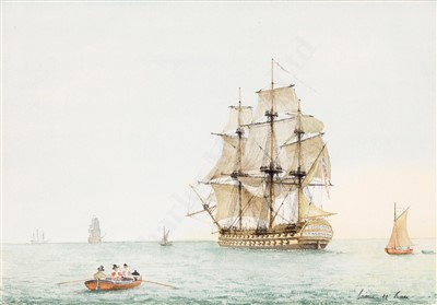 Lot 47-δ WILLIAM M BALL (BRITISH, 1923-2008) Studies of Napoleonic Frigates