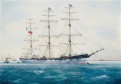 Lot 22-δ WILLIAM M BALL (BRITISH, 1923-2008) The barque 'Harbinger' at anchor