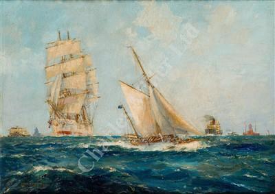 Lot 21-δ FRANK HENRY MASON R.I. (BRITISH, 1875-1965) L'Esperance RYYC off Spithead