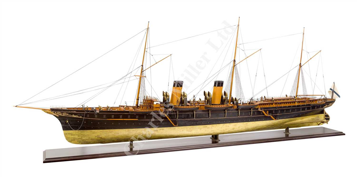 Lot 321-AN IMPRESSIVE AND FINELY DETAILED 1:48 STATIC DISPLAY MODEL OF THE IMPERIAL RUSSIAN STEAM YACHT STANDART, ORIGINALLY BUILT BY BURMEISTER & WAIN, COPENHAGEN, 1895
