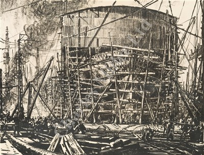 Lot 27-δ MUIRHEAD BONE (BRITISH, 1876-1953) Shipbuilding: A pair of lithographs, signed in pencil 'Muirhead Bone' (lower right)