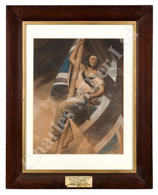 Lot 49-A 19TH CENTURY MEZZOTINT OF JACK CRAWFORD NAILING THE COLOURS TO THE MAST DURING THE BATTLE OF CAMPERDOWN
