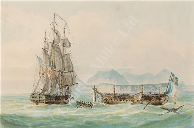 Lot 46-ATTRIBUTED TO NICHOLAS POCOCK (BRITISH, 1740-1821) 'San Fiorenzo' & La 'Piemontaise' off Ceylon, 1804