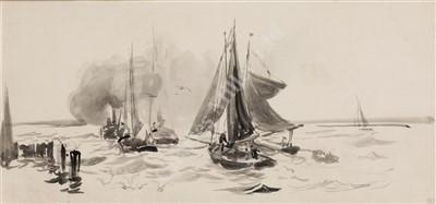 Lot 1-WILLIAM LIONEL WYLLIE (1851-1931) Putting to Sea
