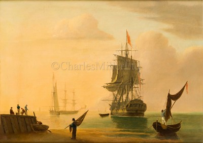 Lot 37-ENGLISH SCHOOL, 19TH CENTURY Beach scene with a man o'war at anchor