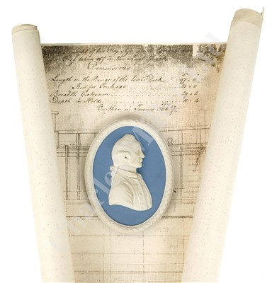 Lot 32-A MODERN WEDGEWOOD JASPERWARE PLAQUE OF CAPTAIN JAMES COOK: and Endeavour plans