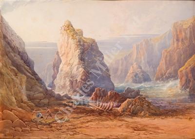 Lot 2-REV. FREDERICK C. JACKSON (BRITISH, 1825-1898) Retrieving wreckage on a Cornish beach