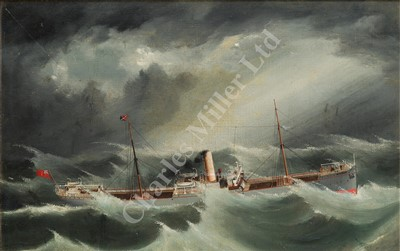 Lot 12-ENGLISH SCHOOL, LATE 19TH CENTURY S.S. 'Wyneric' in a foul sea