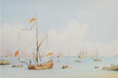 Lot 30-δ WILLIAM M BALL (BRITISH, 1923-2008) 17th Century Dutch naval vessels