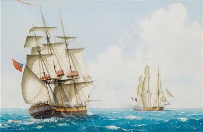 Lot 41-δ WILLIAM M BALL (BRITISH, 1923-2008) The Frigate 'Diana'; Men O' War at anchor