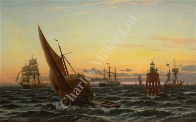 Lot 24-CHRISTIAN ECKARDT (DANISH, 1832-1914): A London hay barge passing Chapman Sands lighthouse, off Canvey Island in company with varied shipping