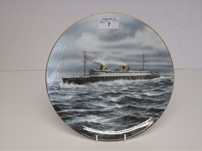 Lot 7-Blue Riband Liners: A souvenir picture plate of Bremen
