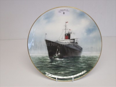 Lot 8-Blue Riband Liners: A souvenir picture plate of Normandie