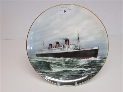 Lot 9-Blue Riband Liners: A souvenir picture plate o f'Queen Mary'