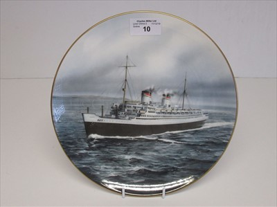 Lot 10-Blue Riband Liners: A souvenir picture plate of 'Rex'