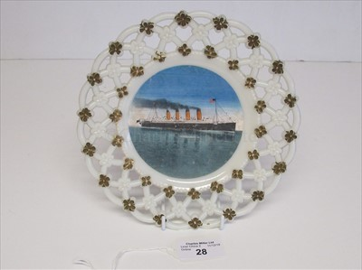 Lot 28-Cunard: A souvenir glass ribbon plate from R.M.S. Mauretania